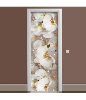 Наклейка на дверь Орхидея и капли росы 01 65х200 см