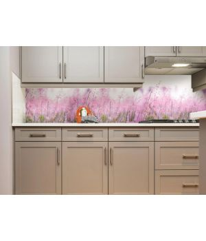 Виниловая наклейка фартук-скинали на кухню Луг 600х2500 мм розовый