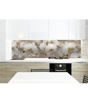 Вінілова наклейка фартук-скінали на кухню Орхідея і краплі роси 600х2500 мм білий
