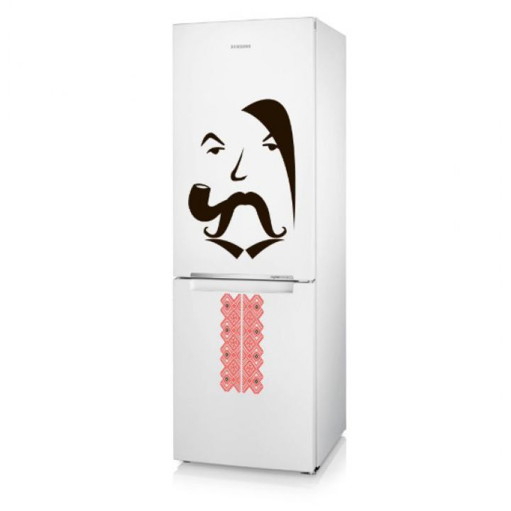 Интерьерная виниловая наклейка на стену и обои Козак на холодильник