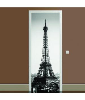 Наклейка на дверь черно-белая Эйфелева башня 01, 65х200 см