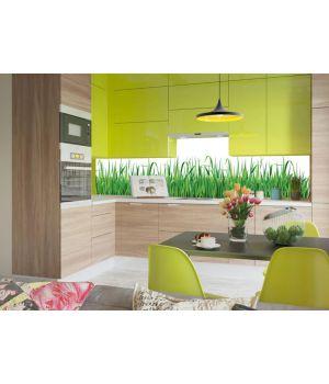 Виниловая наклейка фартук-скинали на кухню Трава 600х2500 мм зеленый