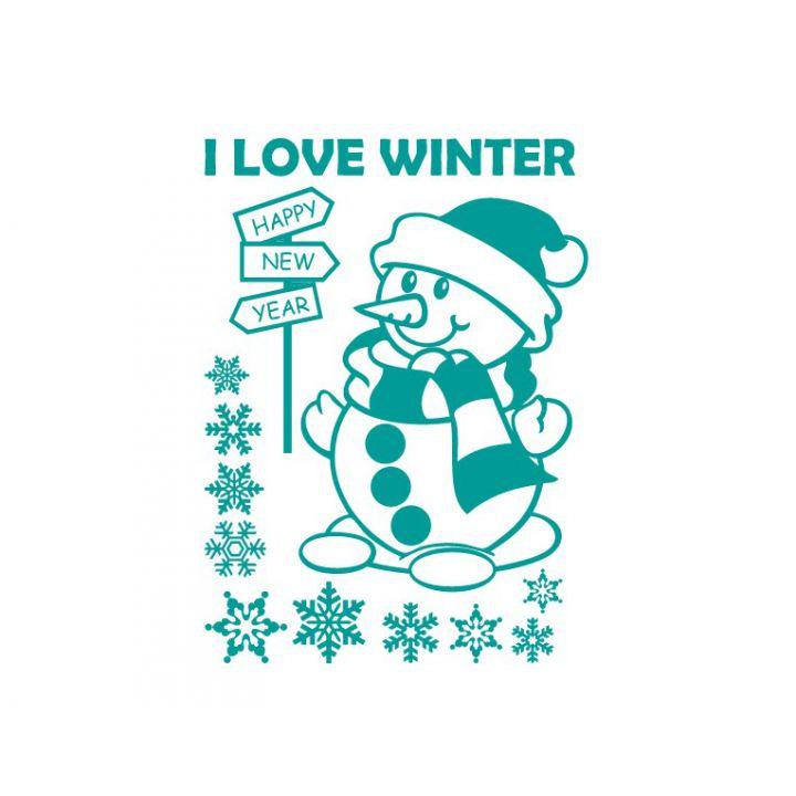 Новогодняя интерьерная наклейка Я люблю зиму