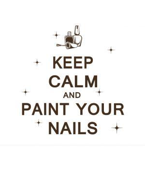 Стильная наклейка в маникюрный салон Keep calm and paint your nails