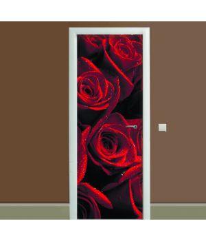Наклейка на дверь Алые розы, 65х200 см