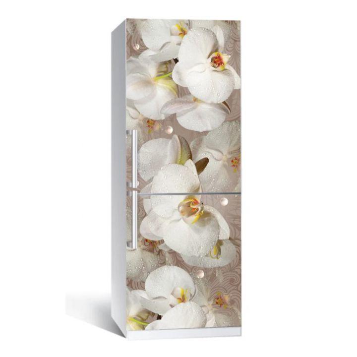 Наклейка на холодильник Орхидея и капли росы 01 650х2000мм