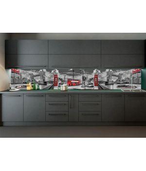 Виниловая наклейка фартук-скинали на кухню Тауэрский мост 600х2500 мм серый