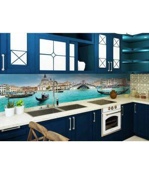 Виниловая наклейка фартук-скинали на кухню Завораживающая Венеция 600х2500мм голубой