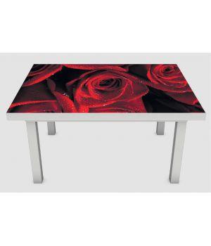 Наклейка на стол Алые розы 01, 60х120 см