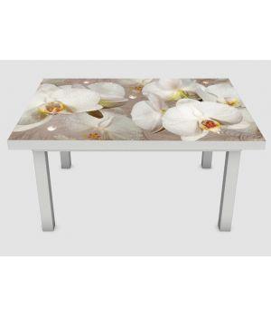 Наклейка на стол Орхидея и капли росы 02, 60х120 см