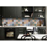 Виниловая наклейка фартук-скинали на кухню Орнамент 600 х 2500 мм синий