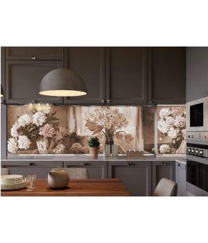 Виниловая наклейка фартук-скинали на кухню Картина 600х2500 мм сепия