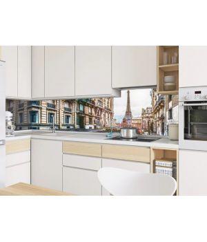 Виниловая наклейка фартук-скинали на кухню Виды Парижа 600 х 2500 мм коричневый