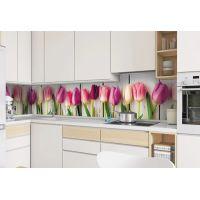 Вінілова наклейка фартук-скінали на кухню Тюльпани 600 х 2500 мм рожевий