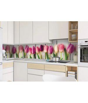 Виниловая наклейка фартук-скинали на кухню Тюльпаны 600 х 2500 мм розовый