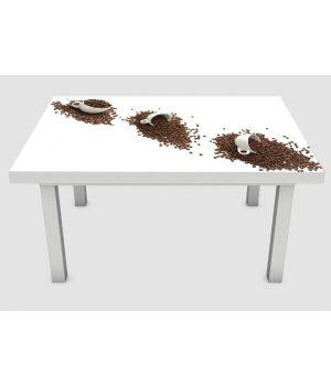 Наклейка на стіл Кружки і зерна кави, 60х120 см