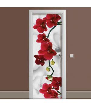 Наклейка на дверь Орхидея алая жемчужина 65х200 см