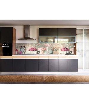 Виниловая наклейка фартук-скинали на кухню Прекрасное утро 600х2500 мм розовый