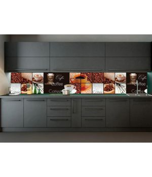 Вінілова наклейка фартук-скінали на кухню Coffee House 600 х 2500 мм коричневий