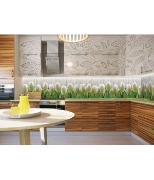 Вінілова наклейка фартук-скінали на кухню Тюльпани 01, 600 х 2500 мм білий