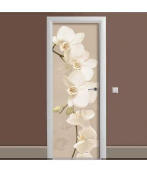 Наклейка на дверь Орхидея беж 01 65х200 см