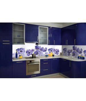 Виниловая наклейка фартук-скинали на кухню Василек 600 х 2500 мм синий