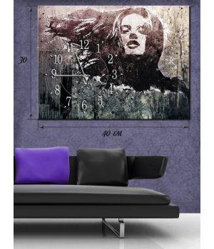 Часы-картина 30х40 на холсте Женщина с развевающимися волосами
