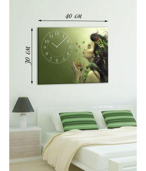 Часы-картина 30х40 на холсте Фея