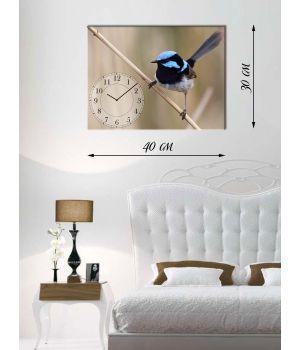 Часы-картина 30х40 на холсте Птица с голубым хохолком