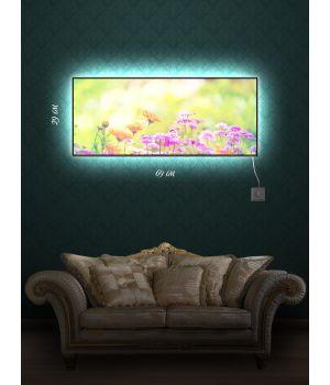 Картина с подсветкой 29х69 Цветочный луг