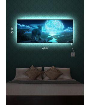 Картина с подсветкой 29х69 Голубая планета