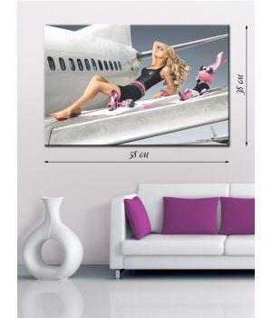 Картина на холсте 38x58 Девушка и самолет