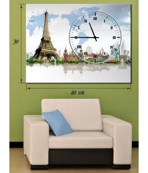 Часы-картина 30х40 на холсте Эйфелева башня