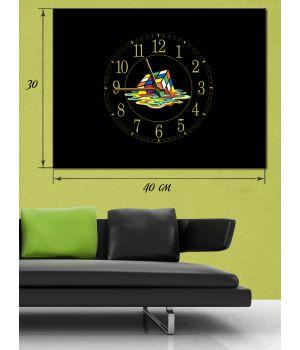 Часы-картина 30х40 на холсте Кубик рубика
