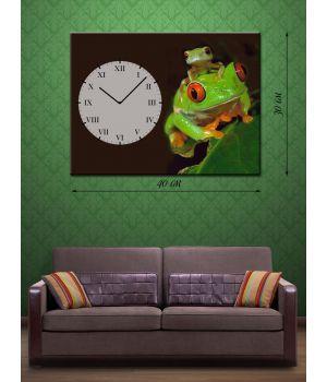 Часы-картина 30х40 на холсте Лягушата