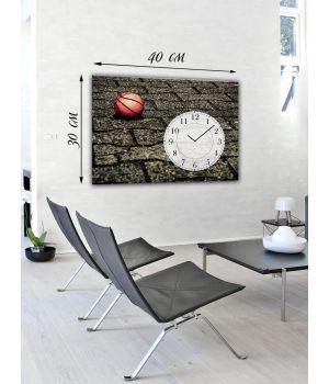 Часы-картина 30х40 на холсте Баскетбольный мяч