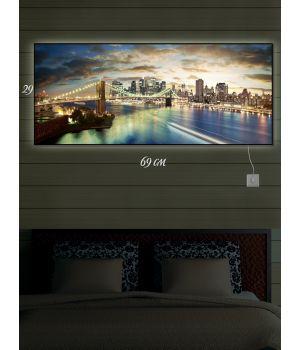 Картина с подсветкой 29х69 Городское настроение