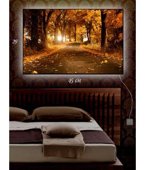 Картина с подсветкой 29х45 Осенняя дорога