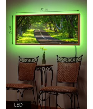LED Картина Деревья вдоль дороги
