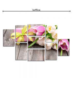 Модульная картина на хосте с принтом Тюльпаны