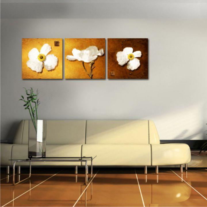 Модульная картина Белые цветы (триптих)