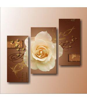 Роза с золотыми бабочками