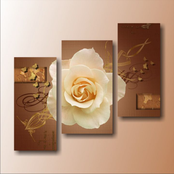 Модульные картины Роза с золотыми бабочками