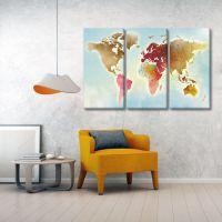 Карта мира. Цветная акварель.