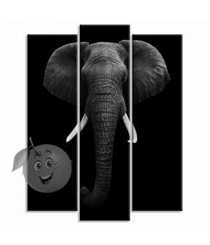 Картина Черно-белый слон
