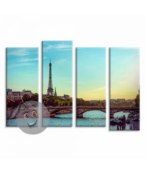 Картина Эйфелева башня и река Сена, Франция