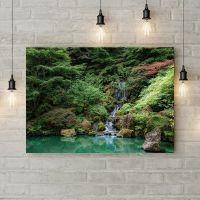 Картина на холсте Водопад в чаще леса, 50х35 см