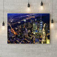 Картина на холсте Полет над вечерним городом, 50х35 см