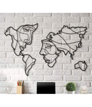 Об'ємна 3D картина з дерева Карта-обличчя DC1605223, 80х140 см