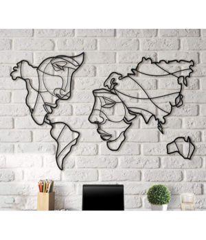 Объемная 3D картина из дерева Карта-лицо DC1605223, 80х140 см